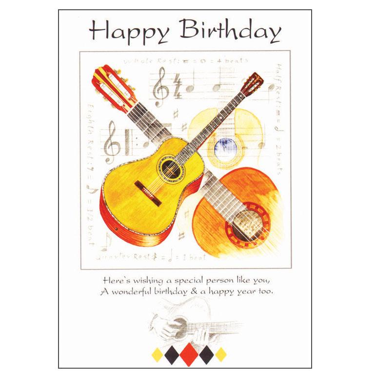 Happy Birthday Card Guitar Design Sparkle Gift