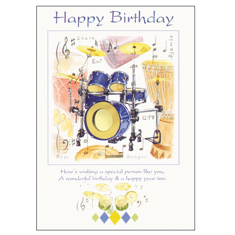Greetings cards general birthday happy birthday card drums design sparkle gift m4hsunfo